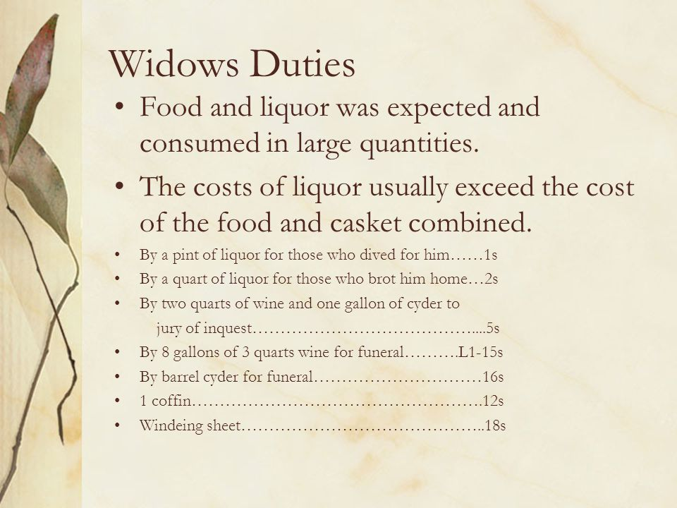 Widows Duties Food and liquor was expected and consumed in large quantities.