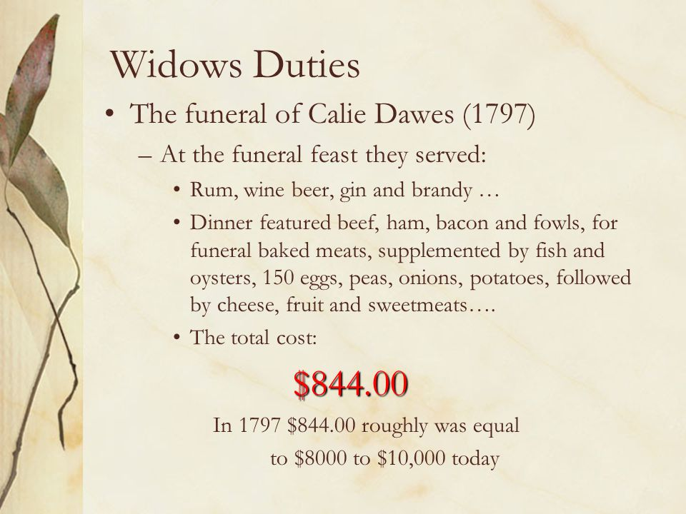 Widows Duties The funeral of Calie Dawes (1797)