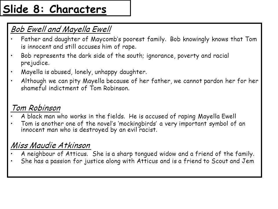 Slide 8: Characters Bob Ewell and Mayella Ewell Tom Robinson
