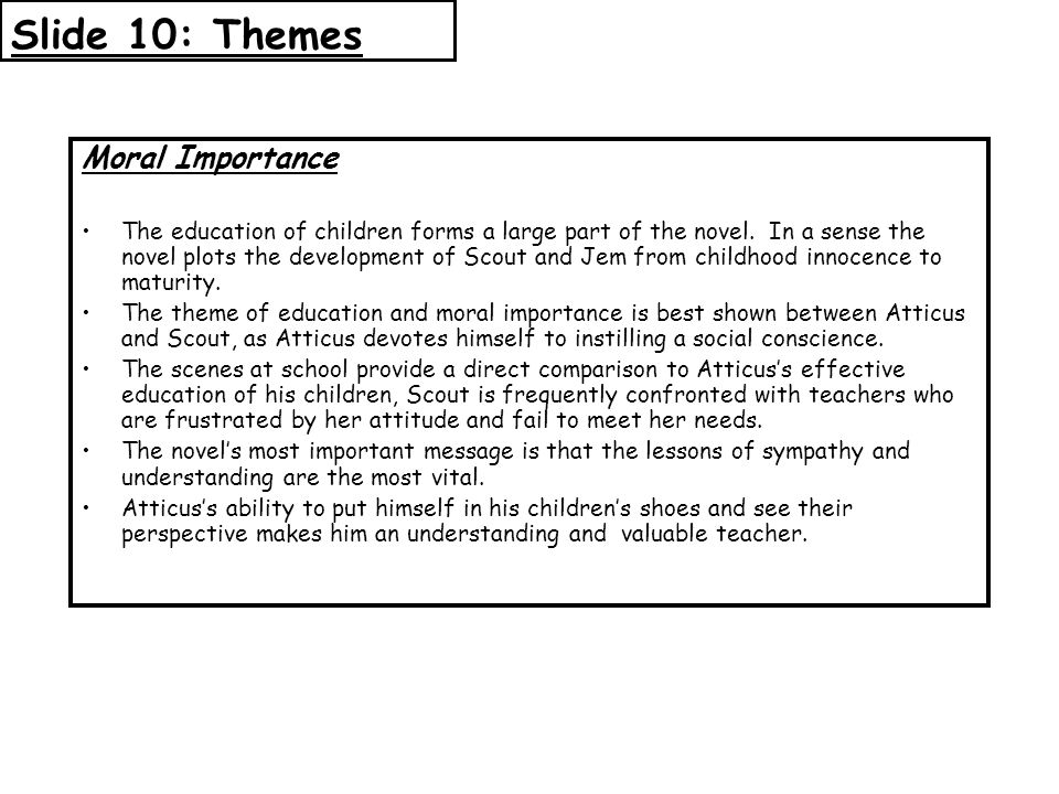 Slide 10: Themes Moral Importance