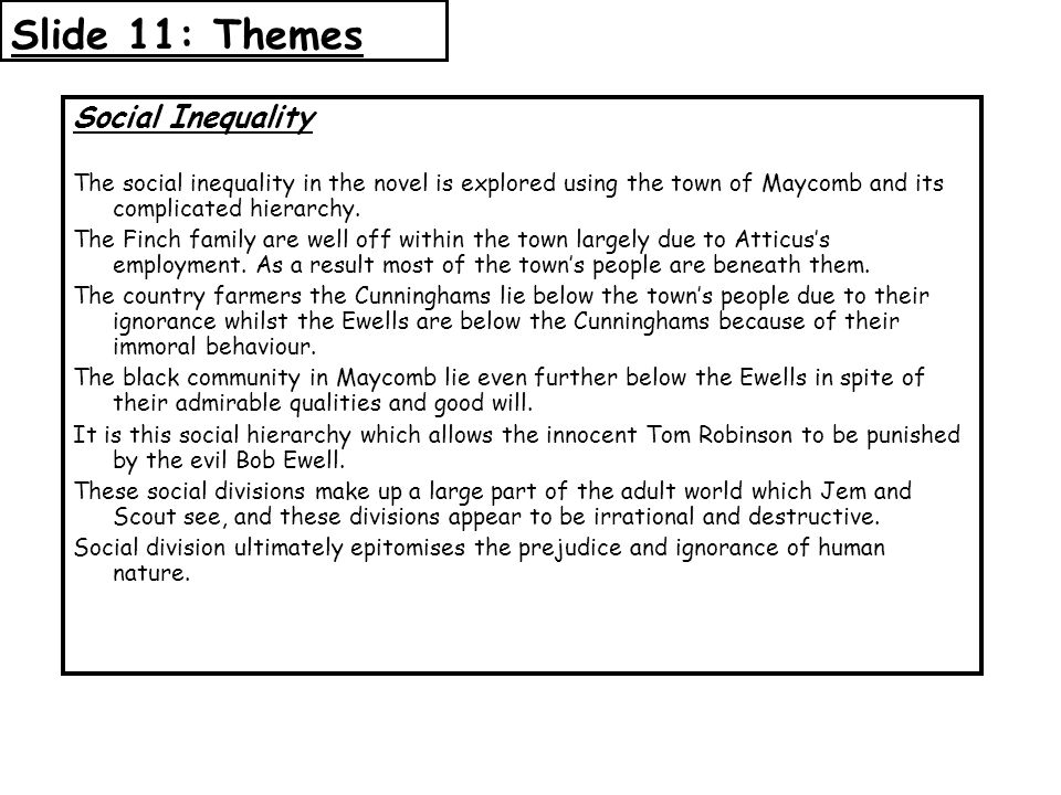 Slide 11: Themes Social Inequality
