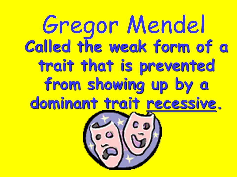 Gregor Mendel Called the weak form of a trait that is prevented from showing up by a dominant trait recessive.