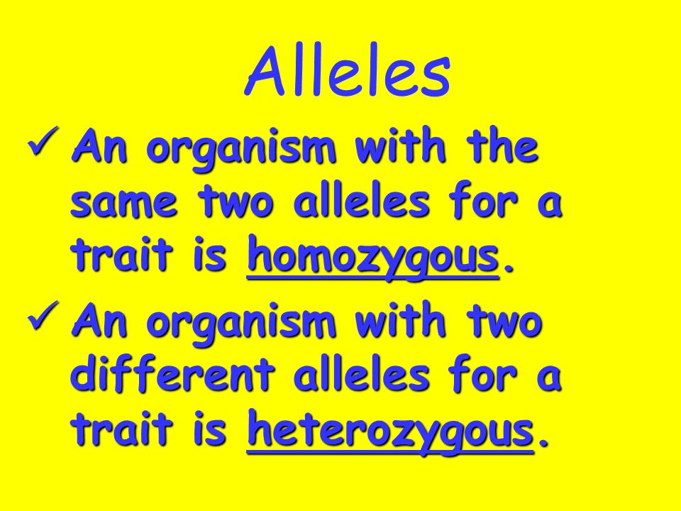 Alleles An organism with the same two alleles for a trait is homozygous.