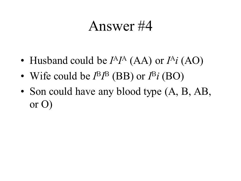Answer #4 Husband could be IAIA (AA) or IAi (AO)