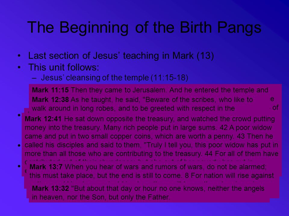 The Beginning of the Birth Pangs