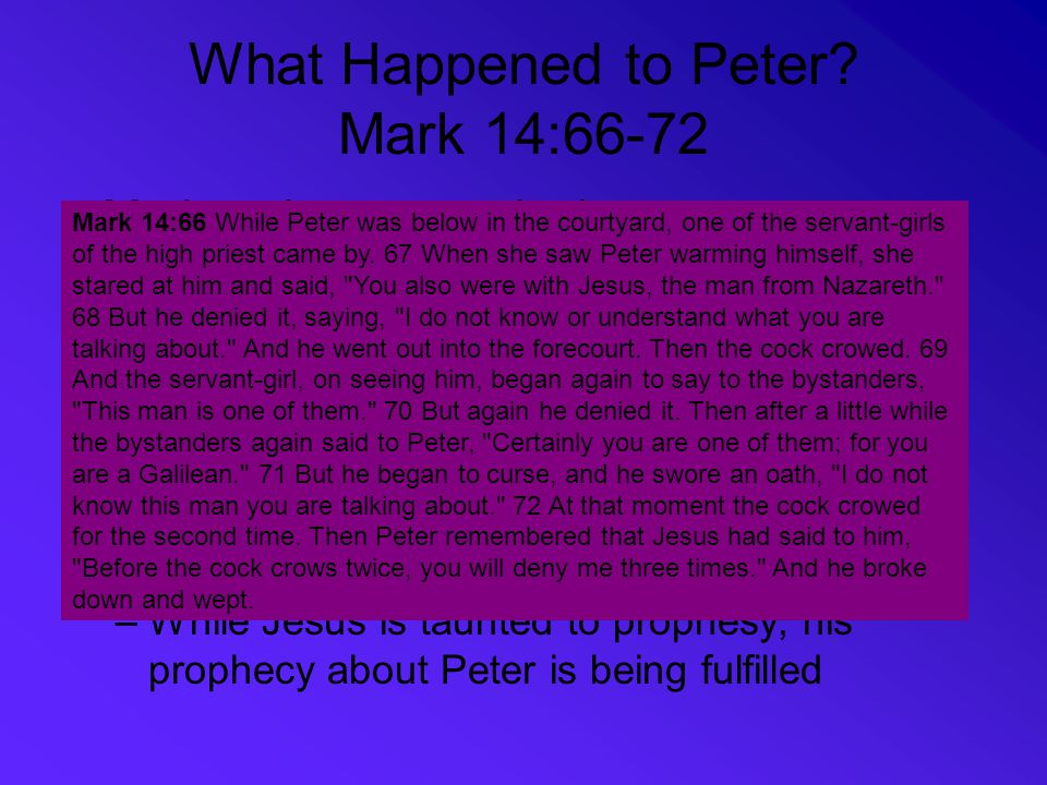 What Happened to Peter Mark 14:66-72