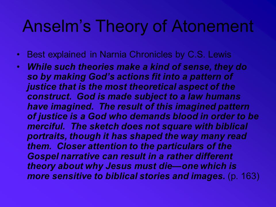 Anselm's Theory of Atonement