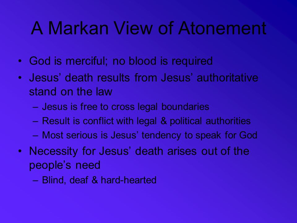 A Markan View of Atonement