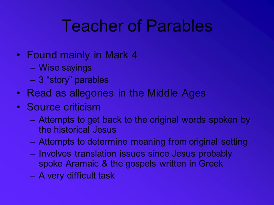 Teacher of Parables Found mainly in Mark 4