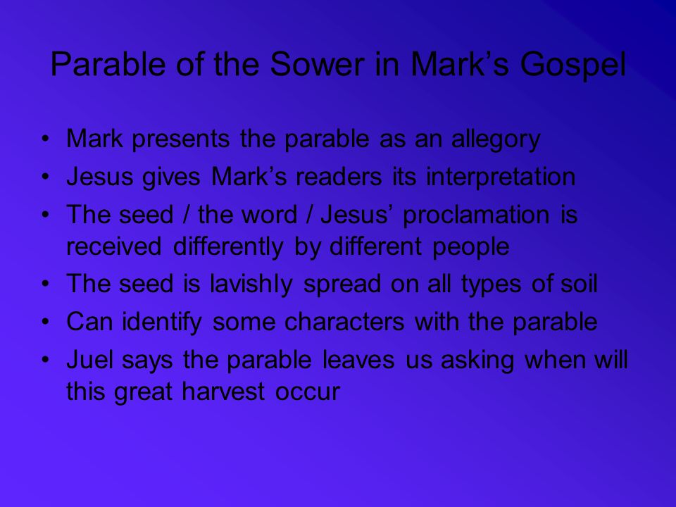 Parable of the Sower in Mark's Gospel