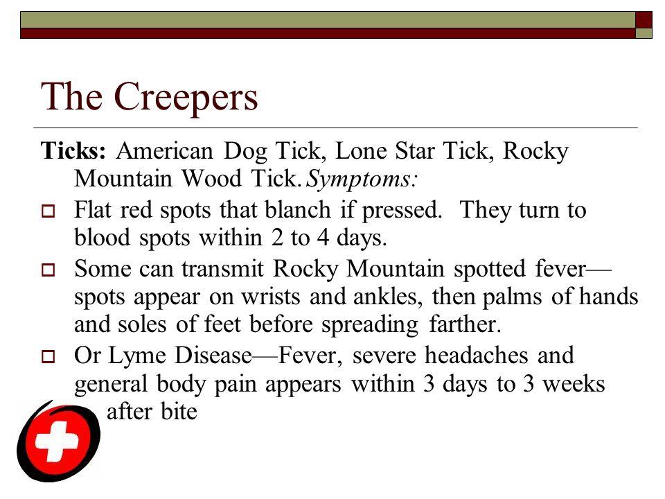 The Creepers Ticks: American Dog Tick, Lone Star Tick, Rocky Mountain Wood Tick. Symptoms: