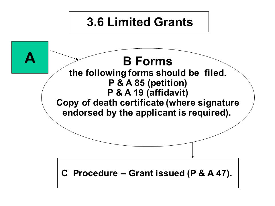 A B Forms 3.6 Limited Grants the following forms should be filed.