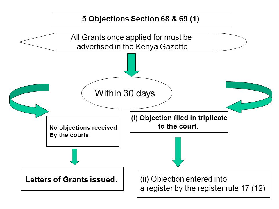 5 Objections Section 68 & 69 (1) (i) Objection filed in triplicate