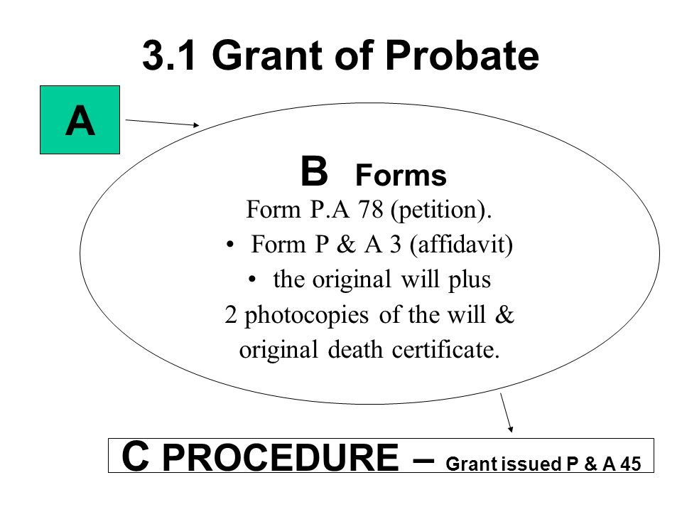 C PROCEDURE – Grant issued P & A 45