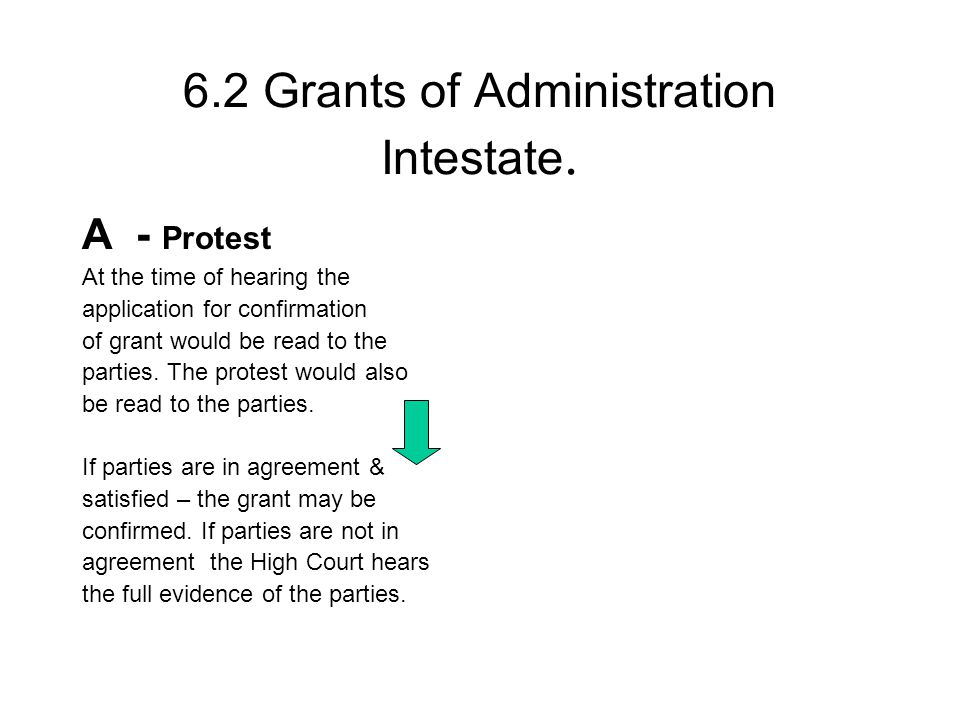 6.2 Grants of Administration Intestate.