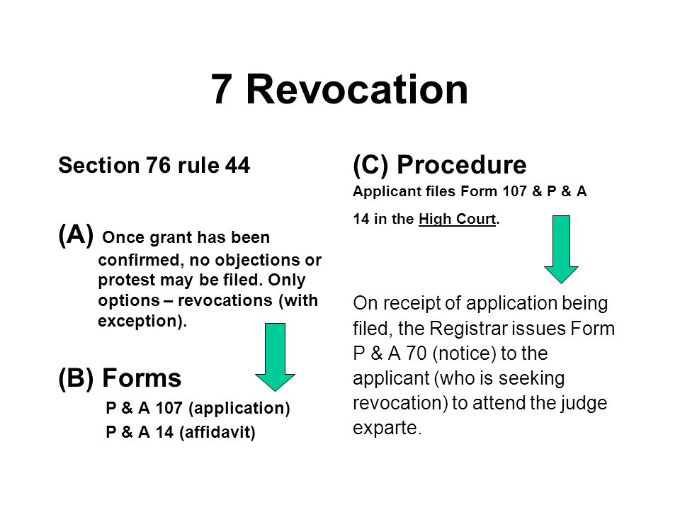7 Revocation (C) Procedure