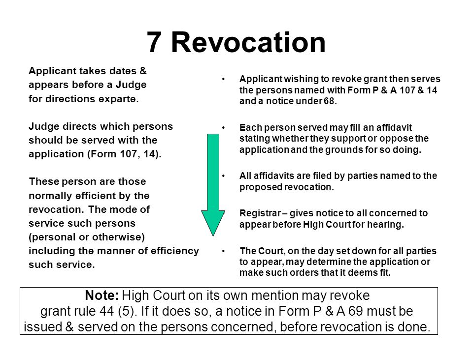 7 Revocation Note: High Court on its own mention may revoke