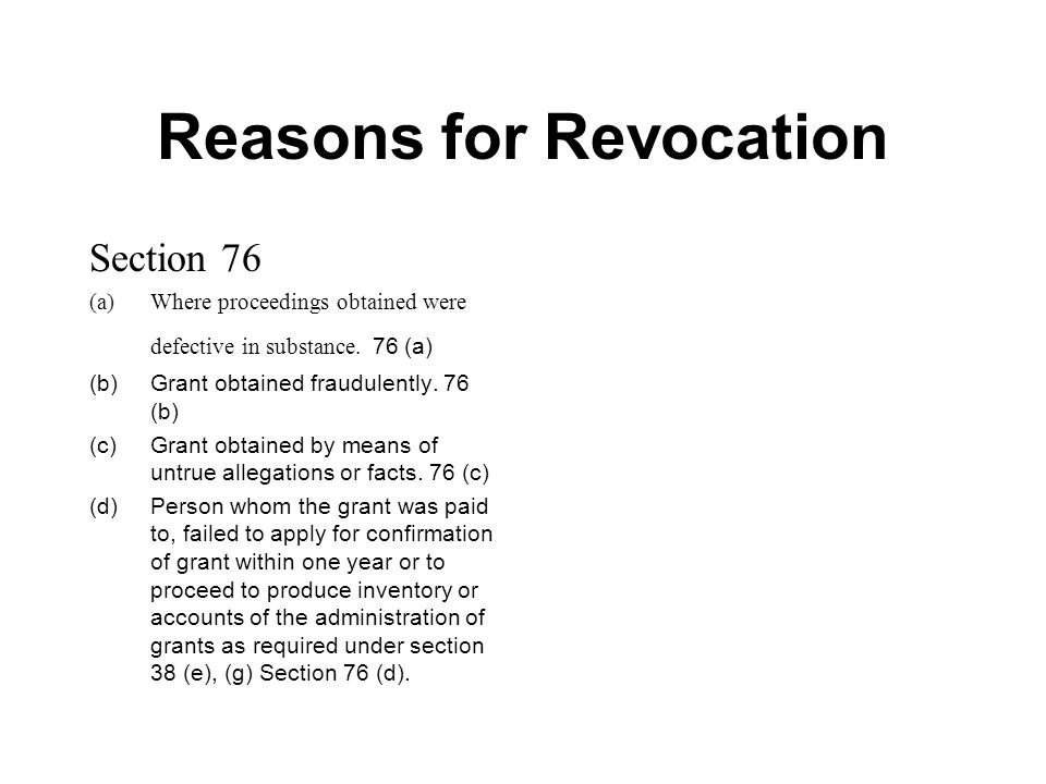 Reasons for Revocation