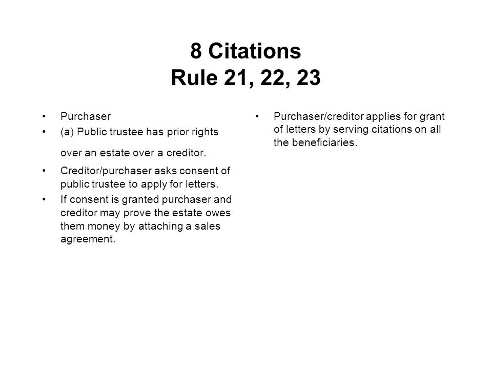 8 Citations Rule 21, 22, 23 Purchaser