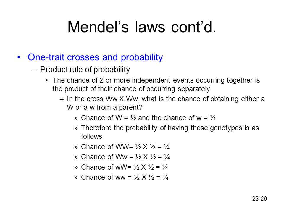 Mendel's laws cont'd. One-trait crosses and probability