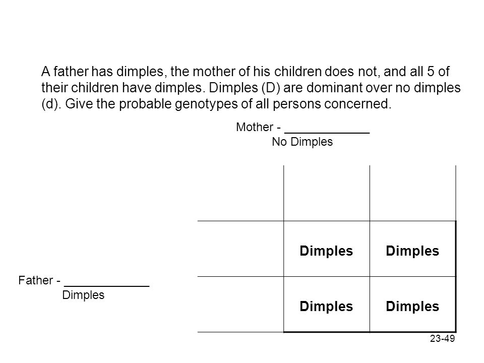 A father has dimples, the mother of his children does not, and all 5 of their children have dimples. Dimples (D) are dominant over no dimples (d). Give the probable genotypes of all persons concerned.