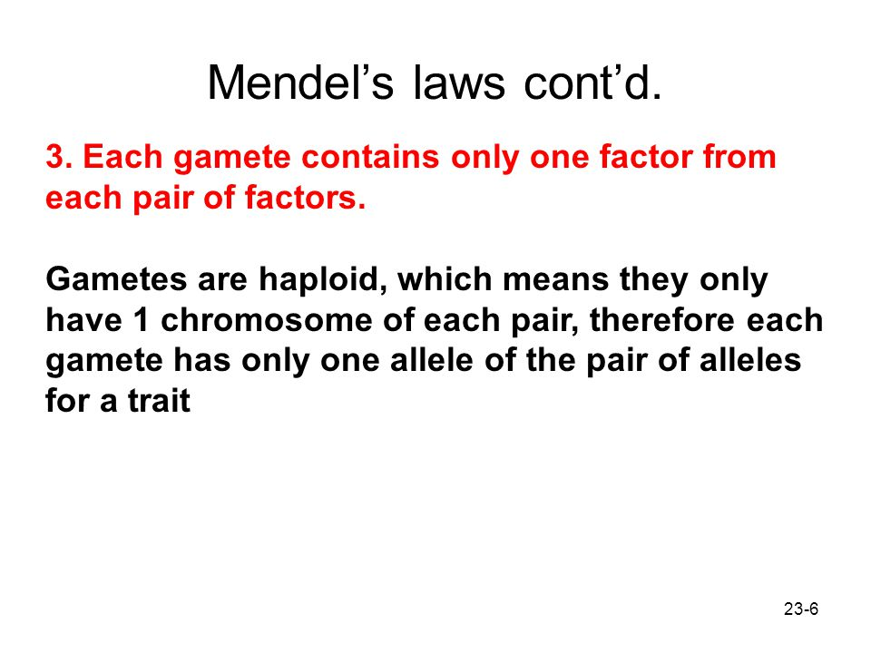 Mendel's laws cont'd. 3. Each gamete contains only one factor from each pair of factors.