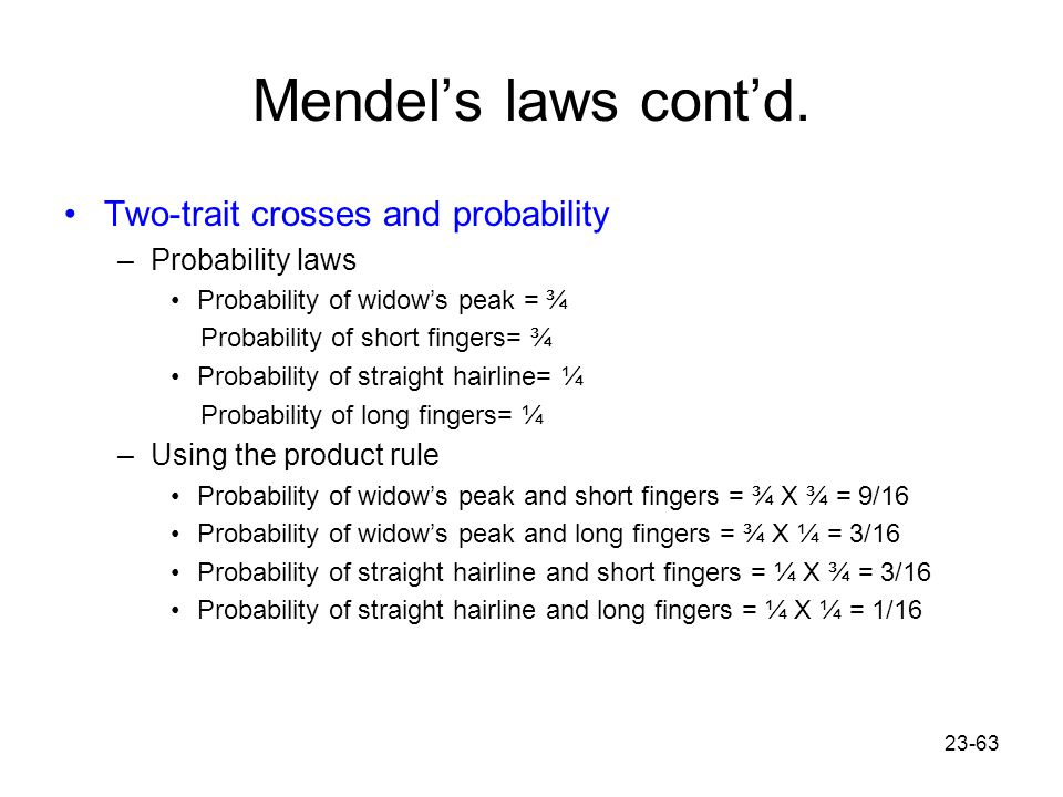 Mendel's laws cont'd. Two-trait crosses and probability