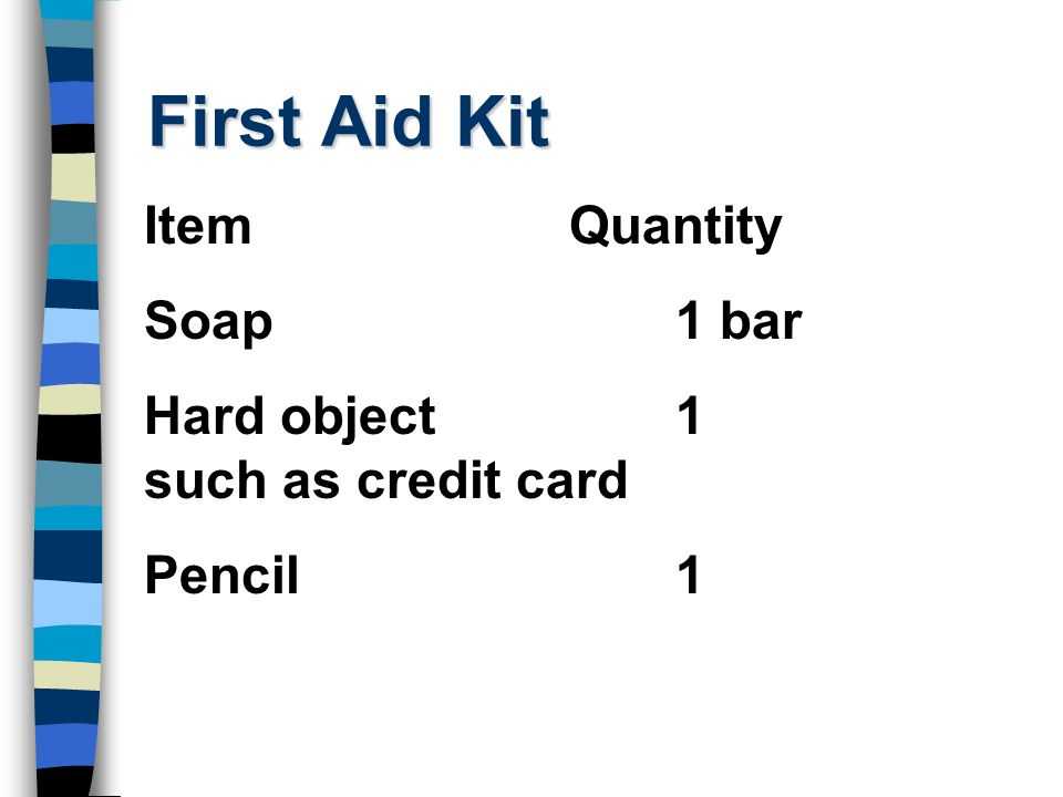 First Aid Kit Item Quantity Soap 1 bar