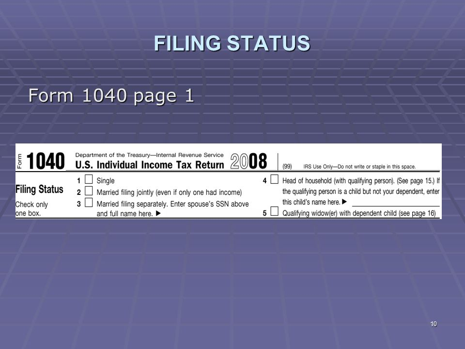 FILING STATUS Form 1040 page 1