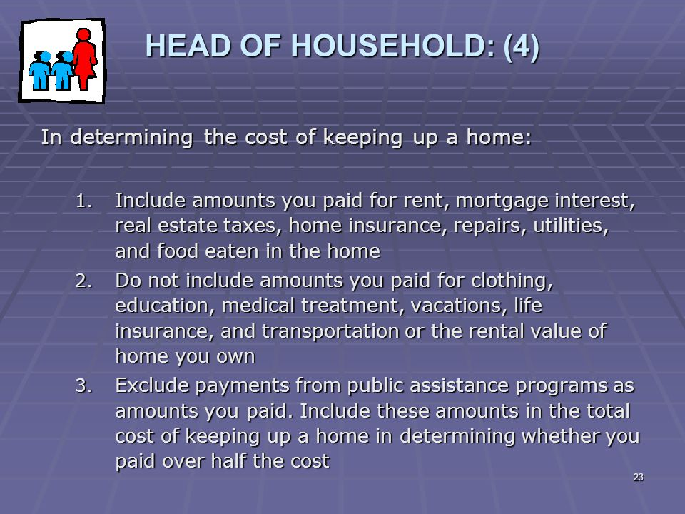 HEAD OF HOUSEHOLD: (4) In determining the cost of keeping up a home: