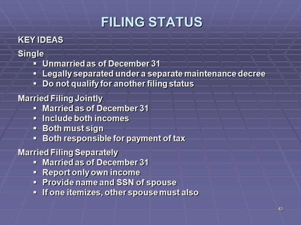 FILING STATUS KEY IDEAS Single Unmarried as of December 31
