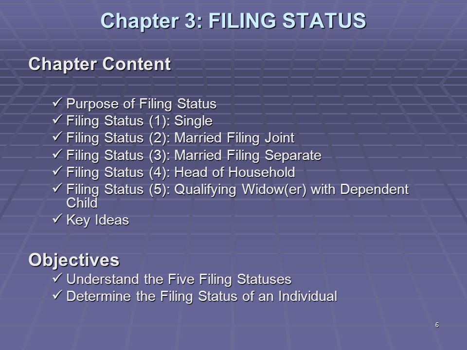 Chapter 3: FILING STATUS