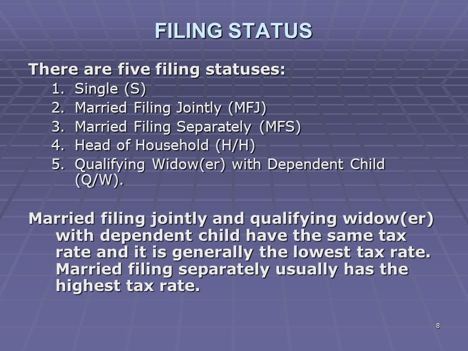 FILING STATUS There are five filing statuses: