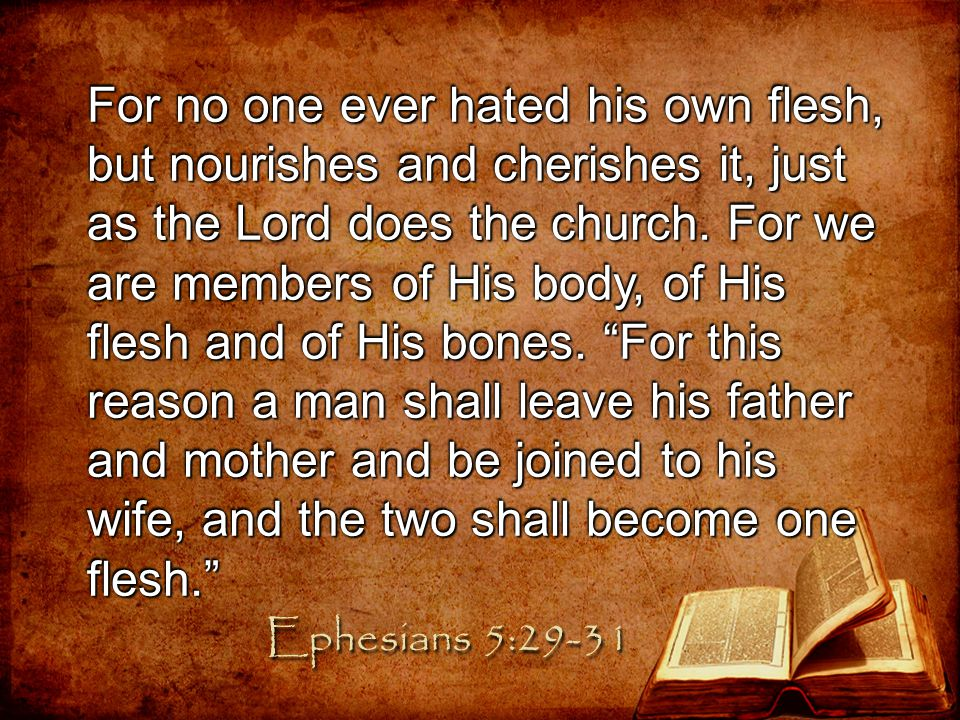 For no one ever hated his own flesh, but nourishes and cherishes it, just as the Lord does the church. For we are members of His body, of His flesh and of His bones. For this reason a man shall leave his father and mother and be joined to his wife, and the two shall become one flesh.