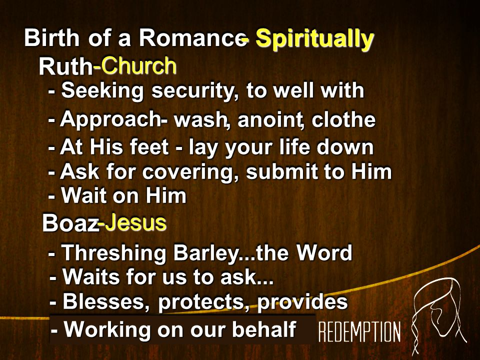 Birth of a Romance - Spiritually Ruth Boaz -Church -Jesus