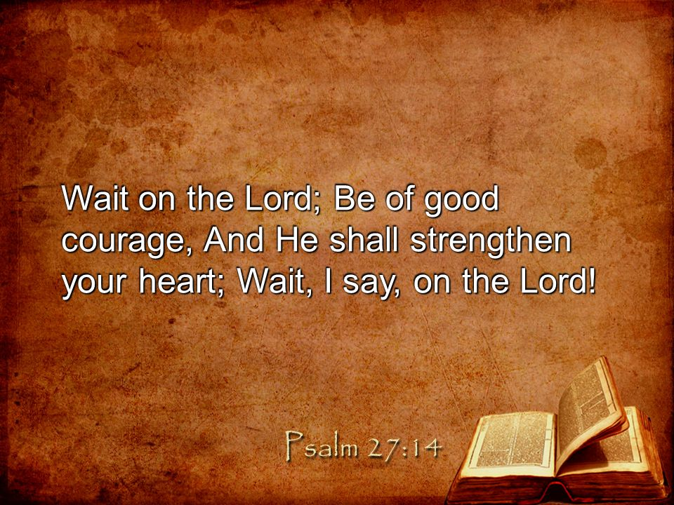 Wait on the Lord; Be of good courage, And He shall strengthen your heart; Wait, I say, on the Lord!