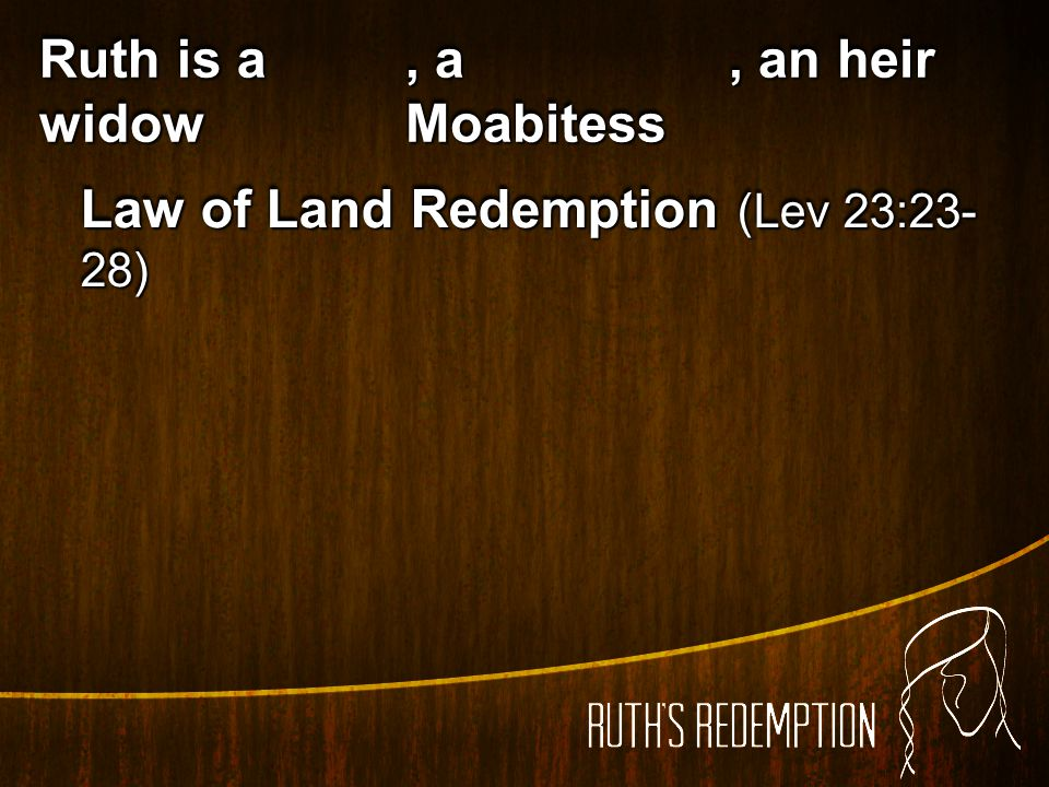 Ruth is a widow , a Moabitess , an heir Law of Land Redemption (Lev 23:23-28)