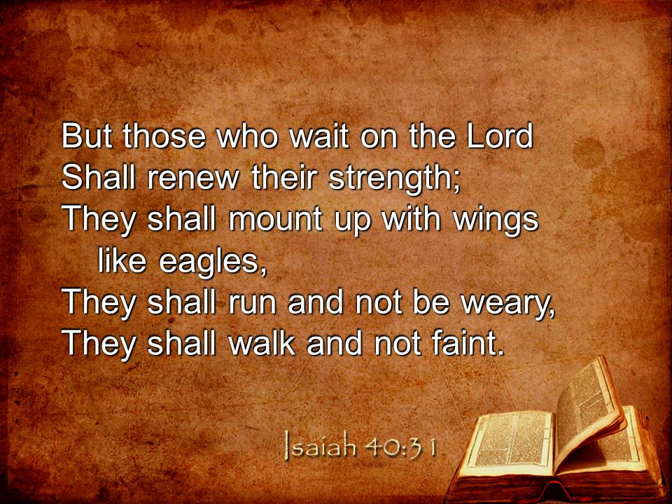 But those who wait on the Lord Shall renew their strength;