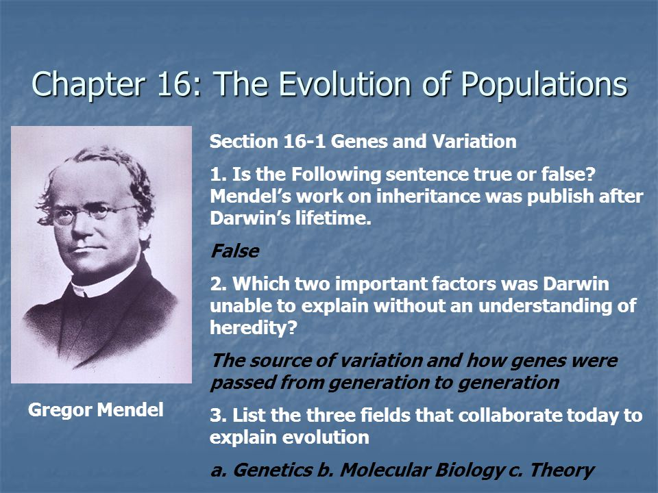 Chapter 16: The Evolution of Populations