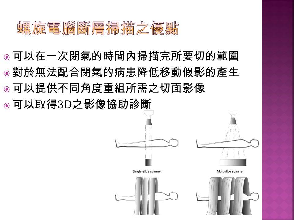 螺旋電腦斷層掃描之優點 可以在一次閉氣的時間內掃描完所要切的範圍 對於無法配合閉氣的病患降低移動假影的產生