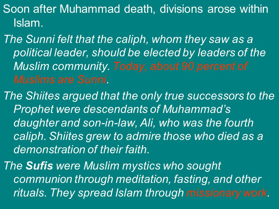 Soon after Muhammad death, divisions arose within Islam.