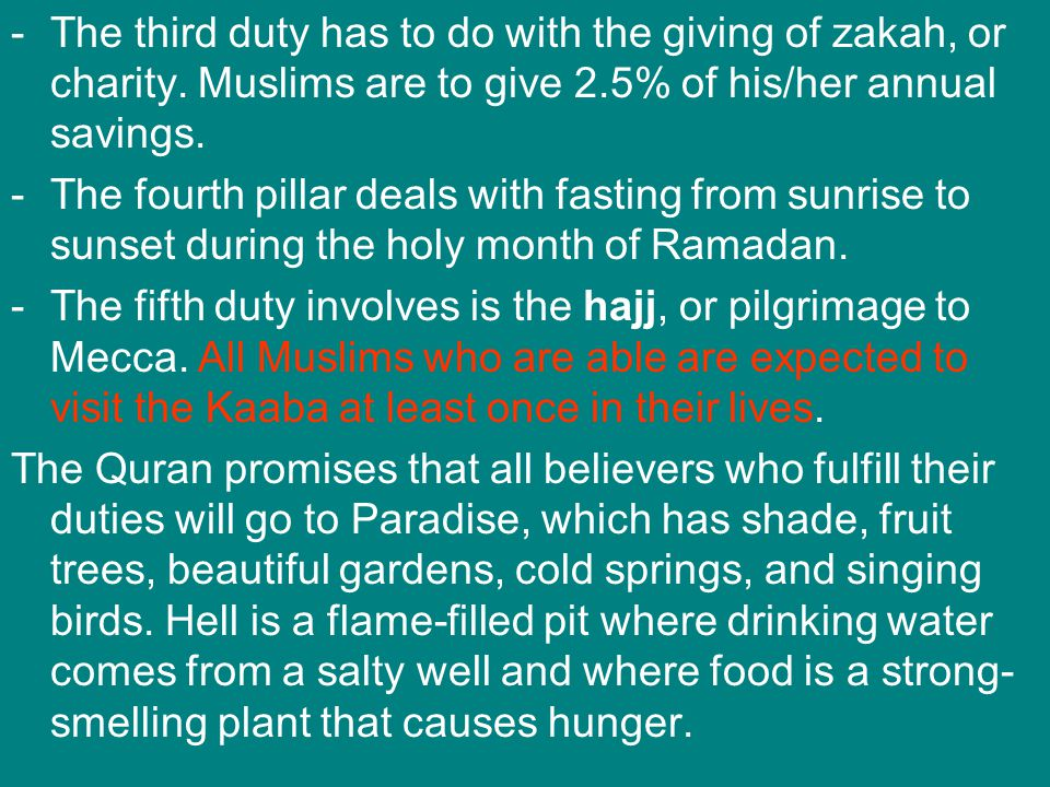 The third duty has to do with the giving of zakah, or charity