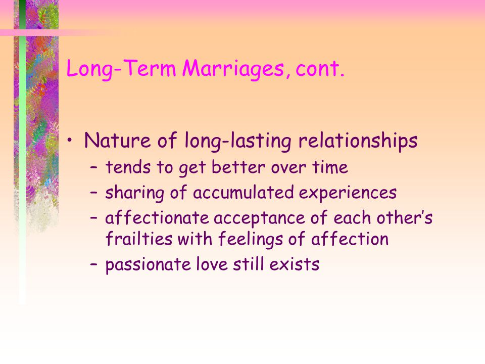 Long-Term Marriages, cont.