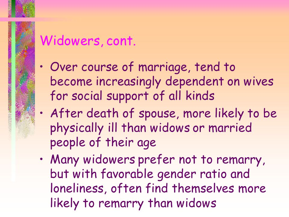 Widowers, cont. Over course of marriage, tend to become increasingly dependent on wives for social support of all kinds.