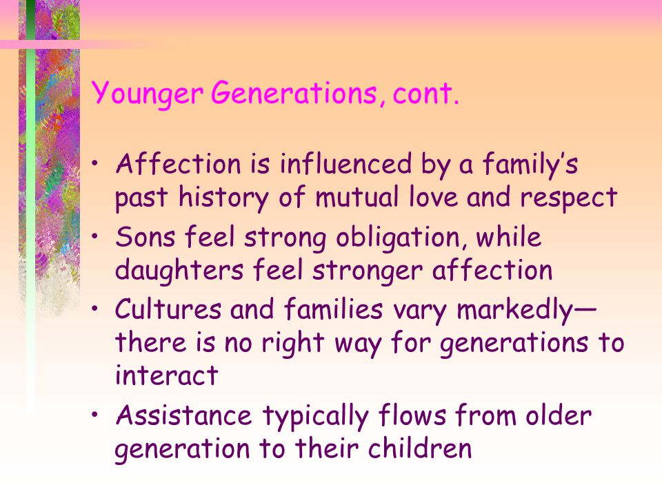 Younger Generations, cont.