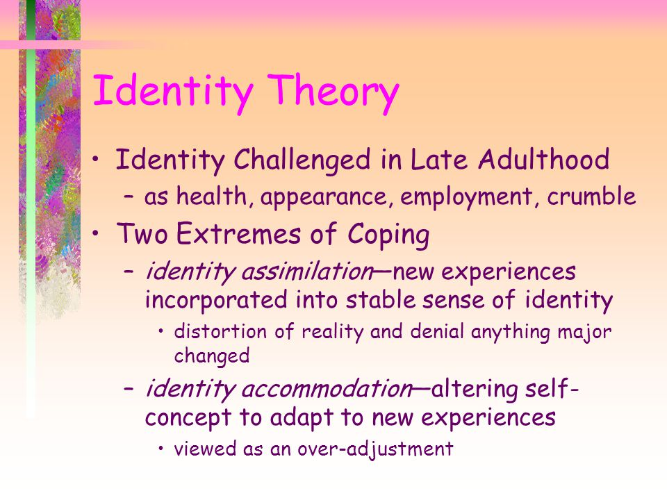 Identity Theory Identity Challenged in Late Adulthood