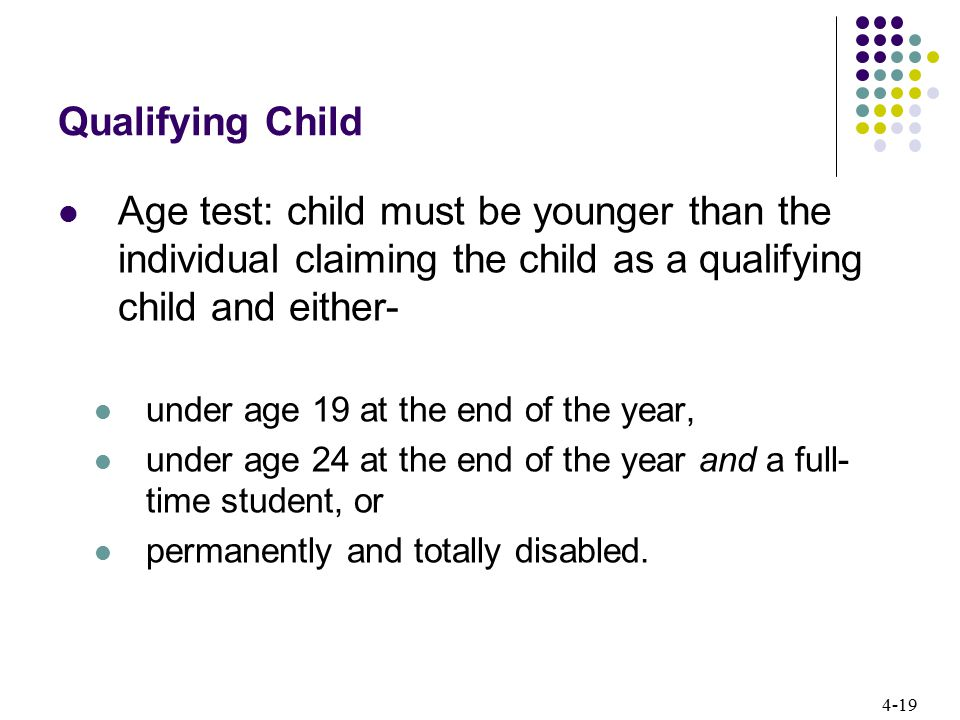 Qualifying Child Age test: child must be younger than the individual claiming the child as a qualifying child and either-