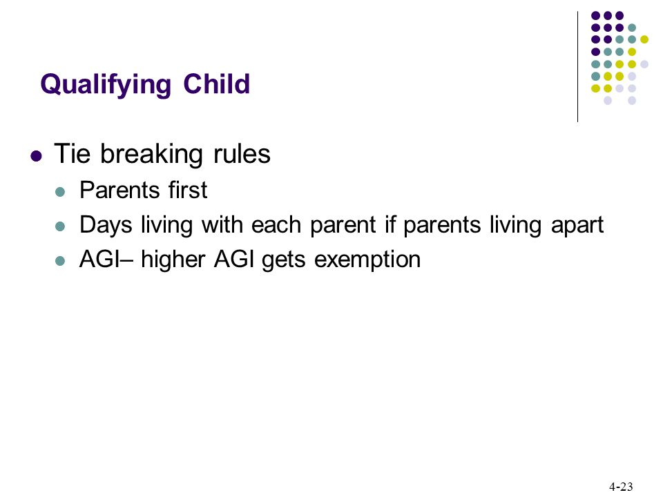 Qualifying Child Tie breaking rules Parents first