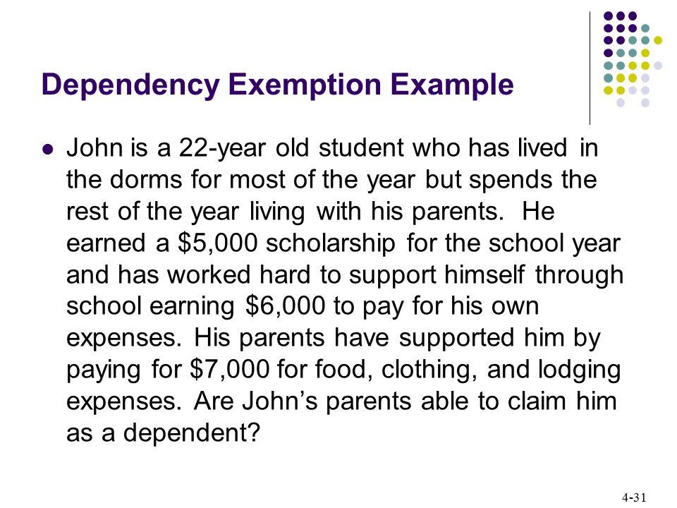 Dependency Exemption Example