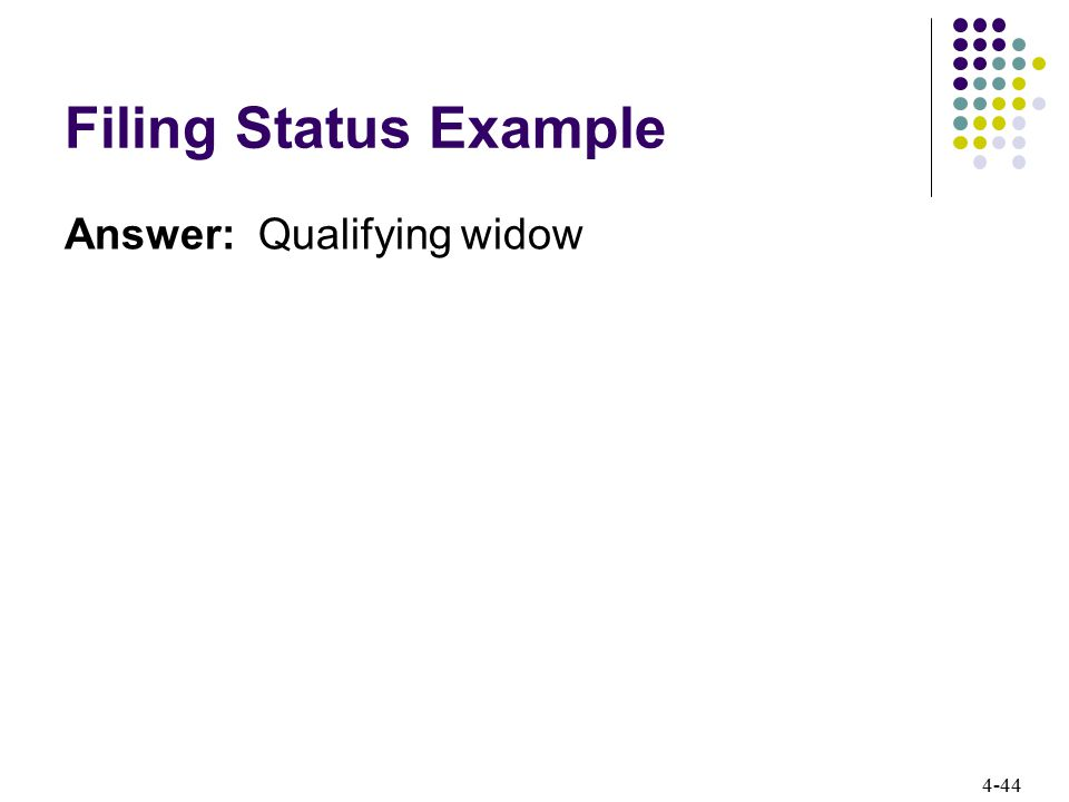 Filing Status Example Answer: Qualifying widow